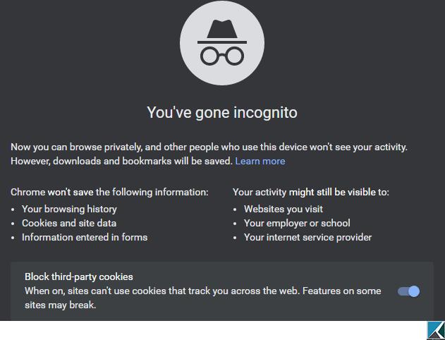 Chrome Incognito window