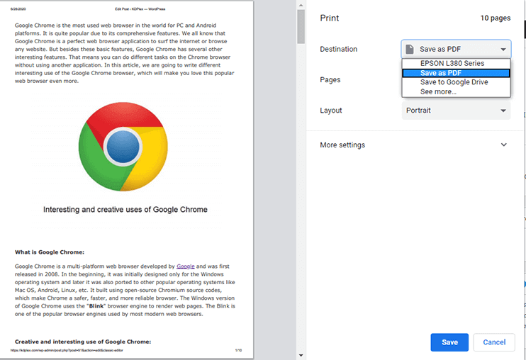 How to save webpage as PDF on Chrome