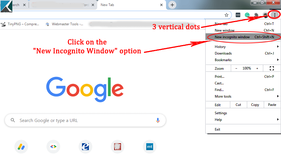 Activate incognito window in Chrome
